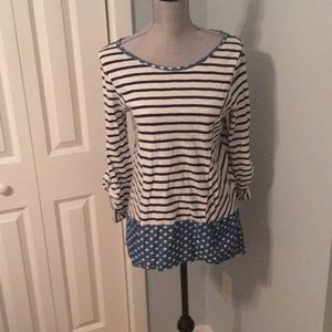 Anthro striped/polka dot hi lo top